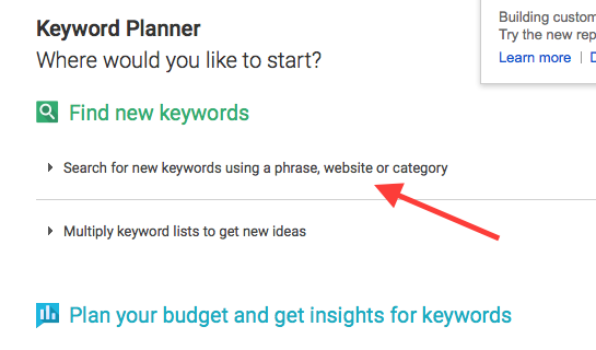 Research online course idea with Google keyword planner