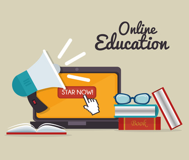 eLearning and education technology graphic design, vector illustration eps10